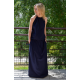 AMIRA - Maxi / long cotton dress - navy blue