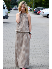 AMIRA - Maxi / long cotton dress - mocha in polka dots
