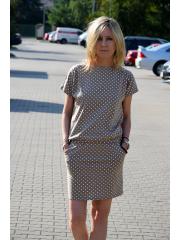 sukienka IRON - kolor MOKKA w GROSZKI