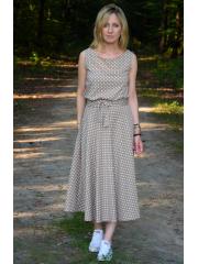 sukienka EMMA - mokka w białe groszki / kropki