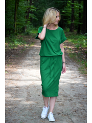 ELIZA - Cotton midi dress with metal eyelets - green
