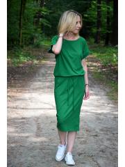 ELIZA - Midikleid aus Baumwolle mit Ösen - grün