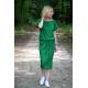 ELIZA - Cotton midi dress with metal eyelets - green