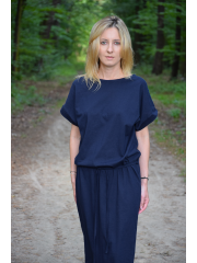 ELIZA - Cotton midi dress with metal eyelets - navy blue
