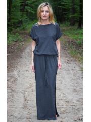 GREES - Baumwollkleid bis zum Boden mit Gürtel