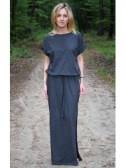 GREES - Cotton dress to the ground with belt
