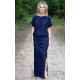 GREES - Cotton dress to the ground with belt - Navy blue