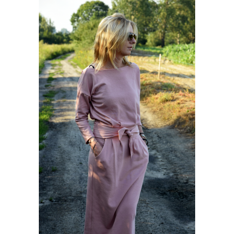 NINA - Cotton maxi belt dress - Dirty pink