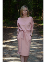 KIKA - cotton midi dress - mocha in polska dots