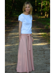 DRESCODE - long, cotton skirt with a bow or knit - dirty pink