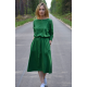 ROSE - cotton dress with belt - green