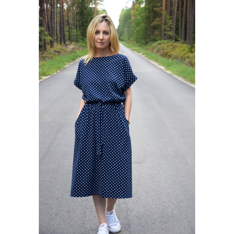 4082f32f8dffc5 ... dress with polka dots navy blue. Reduced price! MANILA - SUKIENKA MIDI  W GROSZKI