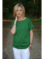 KIRA - Baumwollbluse mit Ösen - grün