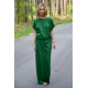 GREES - Cotton dress to the ground with belt - green