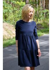 BLUM - midi dress with frills - navy blue