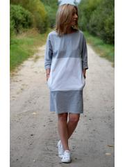 ROXI - Two-color (gray-white) mini dress
