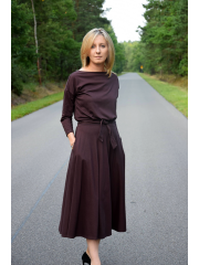 ADELA - Midi Flared cotton dress - chocolate