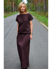 CLEO - long knitted dress - CHOCOLATE