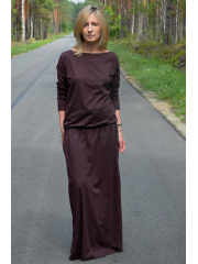 MAXIMA - cotton long dress with pockets - chocolate