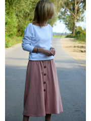 LUPE - Trapezoidal midi skirt with buttons - dirty pink