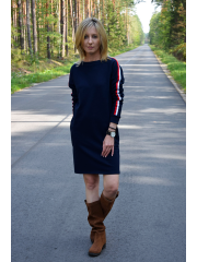 PATH - cotton dress with colorful stripes - navy blue