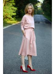 ROSE - Baumwollkleid mit Gürtel - Marineblau