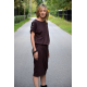 ELIZA - Cotton midi dress with metal eyelets - chocolate color