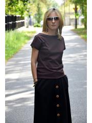 FOCUS - Baumwoll Damen T-SHIRT mit Tasche - Schokolade