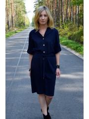 ADA - cotton button dress with belt - navy blue
