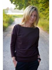 MARTHA - Cotton women's blouse chocolate color