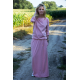 MAXIMA - cotton long dress with pockets - dirty pink