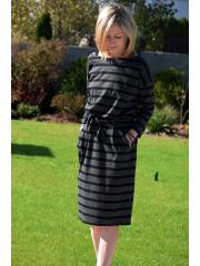 KIKA - cotton midi dress - in stripes