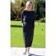 NINA - Cotton maxi belt dress - in stripes