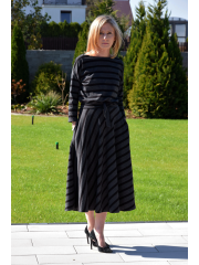 ADELA - Midi Flared cotton dress -mocha in polka dots