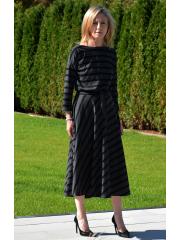 ADELA - Midi Ausgestelltes Kleid gestrickt - in Streifen