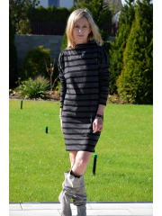 FRIDA - knitted dress with stand-up collar - in stripes
