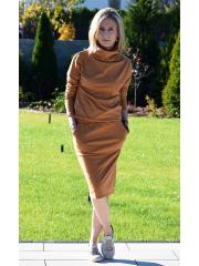 MIKA - cotton dress with turtleneck - caramel