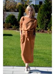 NINA - Baumwoll kleider maxi - Karamell farbe