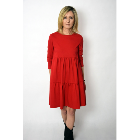 BLUM - midi dress with frills - red