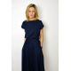 LUCY - Midi Flared cotton dress - navy blue
