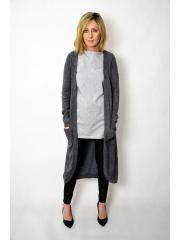 HEAVEN - langer, ungebundener Pullover - Graphit