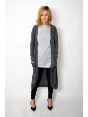 HEAVEN - long, unfastened sweater - graphite