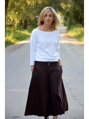 KLAUDIA - cotton SKIRT FROM THE WHEEL 7/8 - chocolate