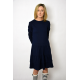 CINDY - dress with ruffles - cotton navy blue