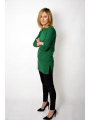 AMBER - cotton blouse with struts - green