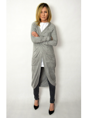 SKY - long, unfastened sweater - graphite