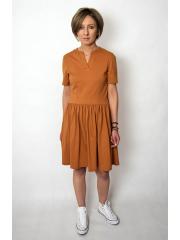 PAMELA - Baumwollkleid in der Taille geschnitten - Karamell