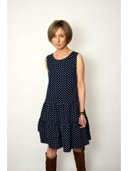 ELENA - dress with frills on straps - navy blue polka dots