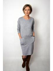 TELMA - Viskose-Kleid- grau