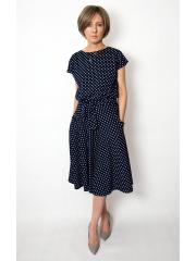 LUCY - Midi Ausgestelltes Kleid gestrickt - Marineblau in Tupfen